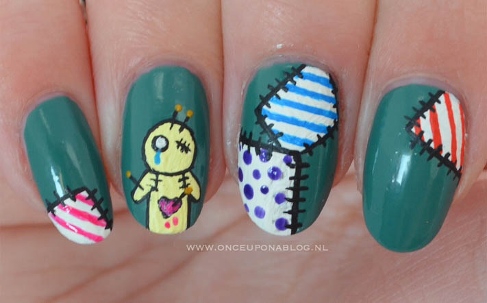 Voodoo Doll Halloween Nail Art 4